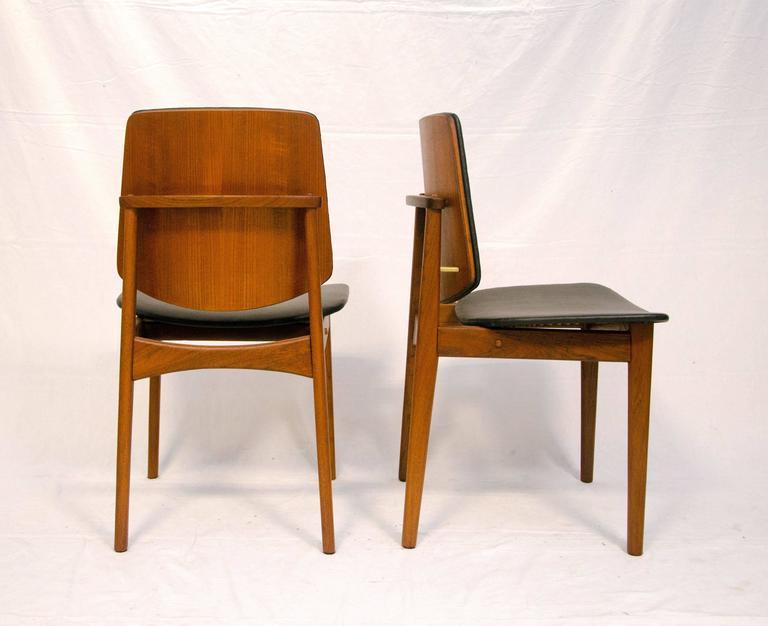 Brass Set of Four Danish Teak Dining Chairs, Arne Hovmand-Olsen For Sale