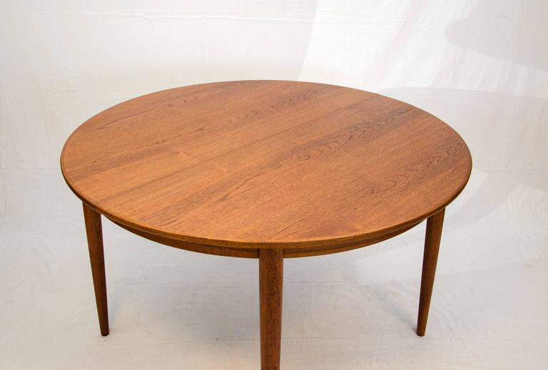 Round Danish Teak Dining Table Two Leaves Moreddi At 1stdibs
