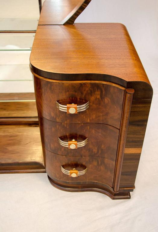 Walnut Art Deco Dressing Table Vanity With Mirror At 1stdibs