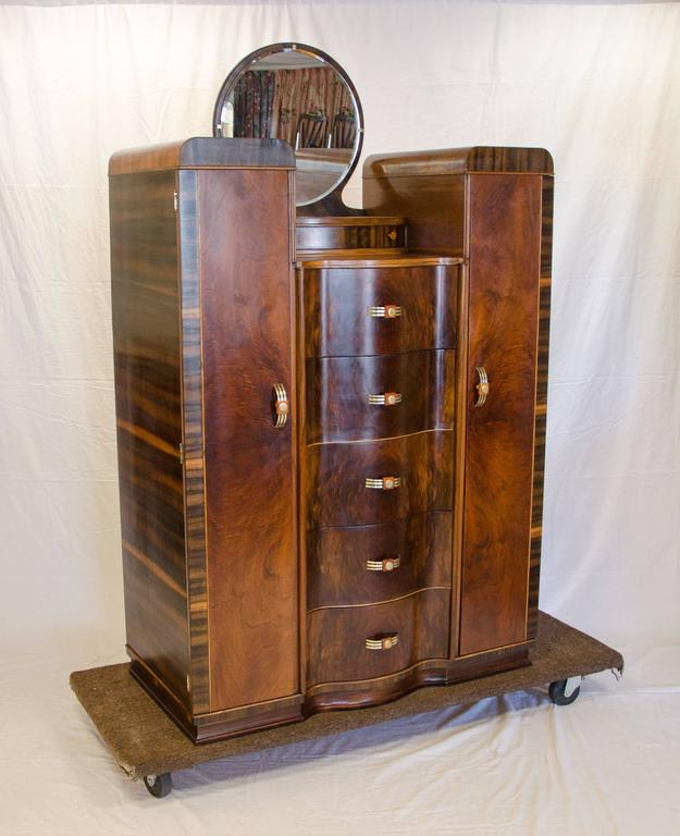 Curvaceous Walnut Art Deco Dresser Or Chifferobe With Serpentine Drawer Fronts The Two Side Cabinets