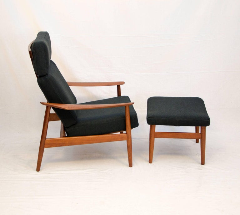 Danish Teak Reclining Lounge Chair With Ottoman Fd 164 By