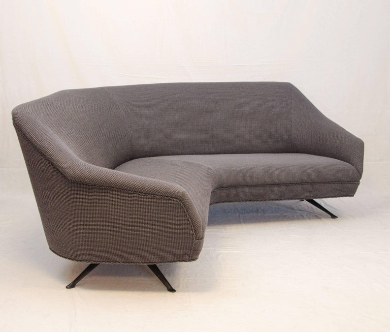 Curved Floating Sofa: Italian Curved Sofa, Knoll Fabric, Attributed To Gio Ponti