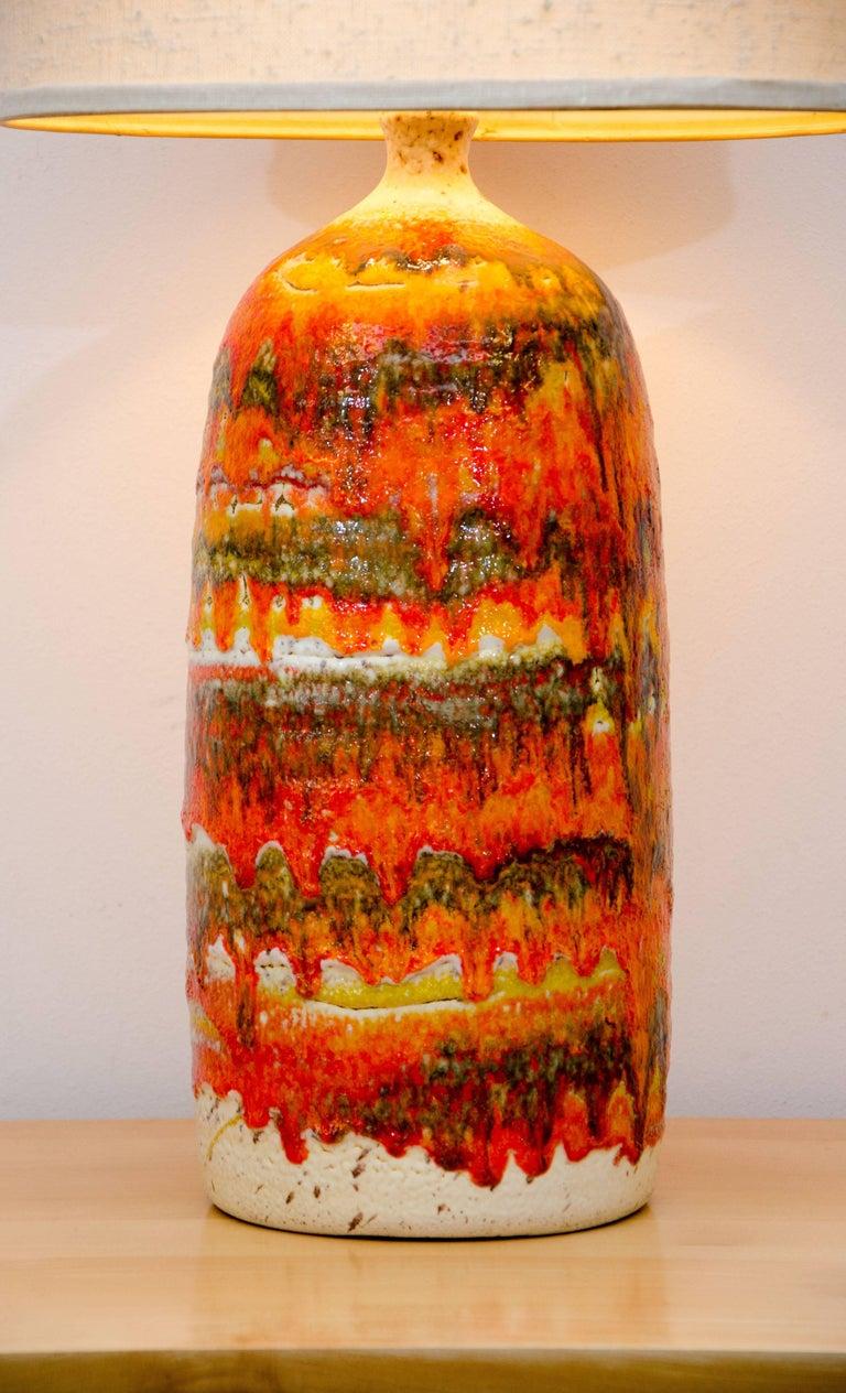 American Colorful Drip Glaze Studio Pottery Table Lamp Original Shade For