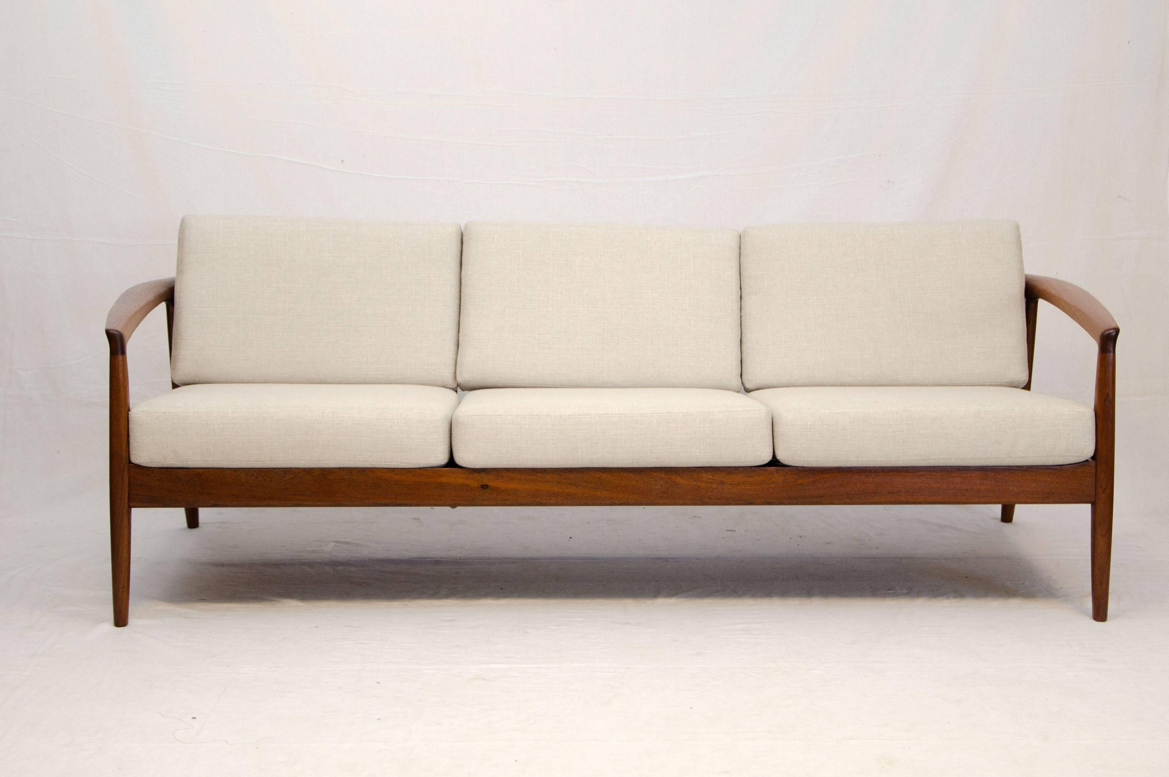 Very Nice Walnut Sofa Frame With A Flowing Rounded Design. The Strapping  Under The Seat