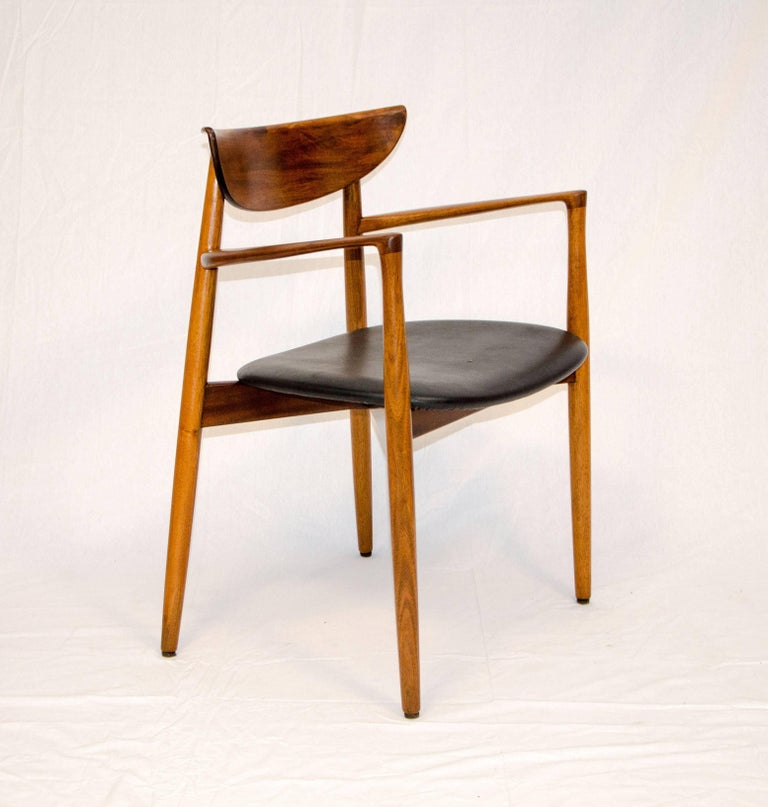 Mid-Century Modern Set of Six Danish Walnut Dining Chairs, Harry Ostergaard, Moreddi For Sale