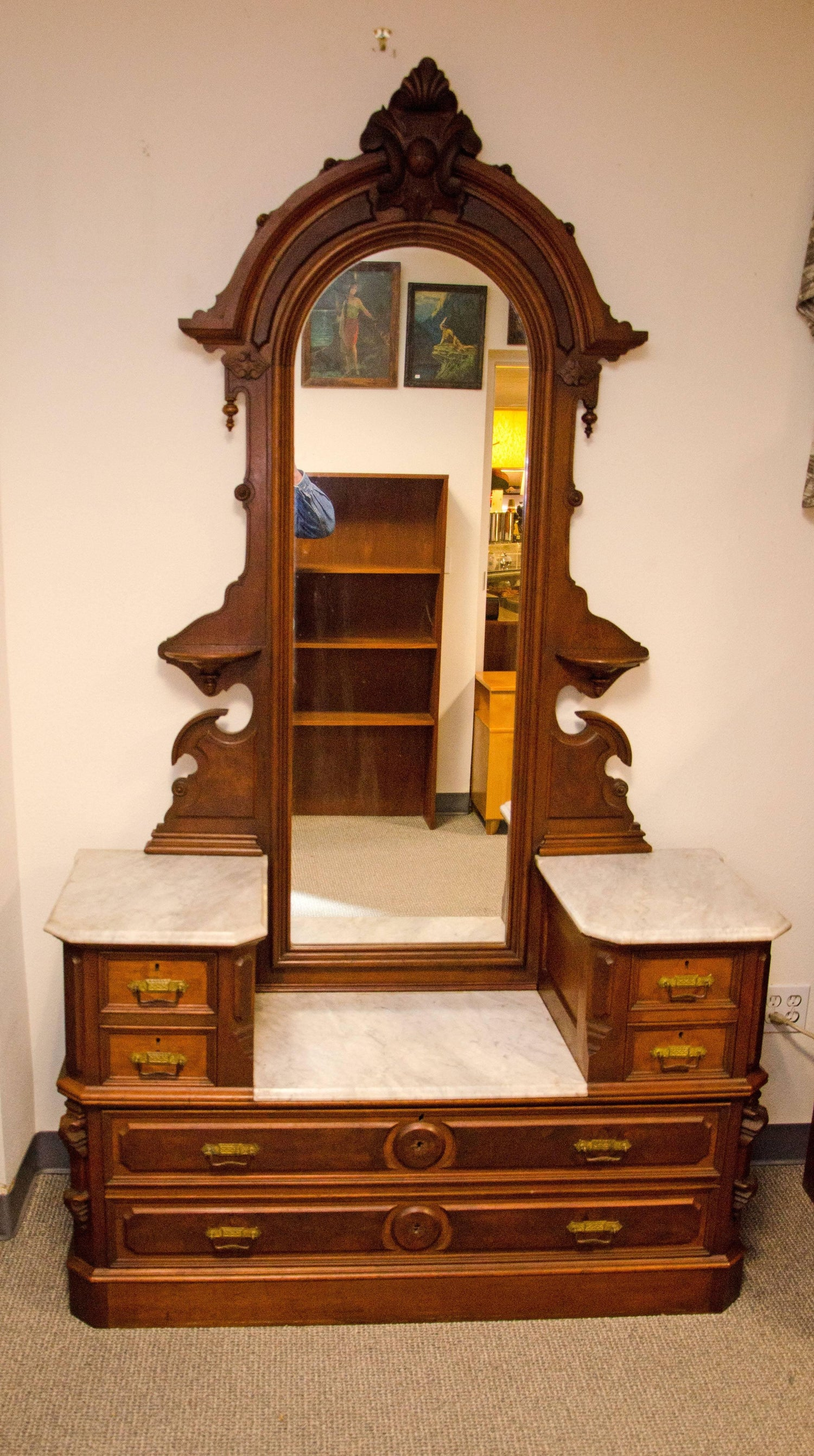 Antique Walnut American Renaissance Victorian Drop Well Dresser Marble Tops