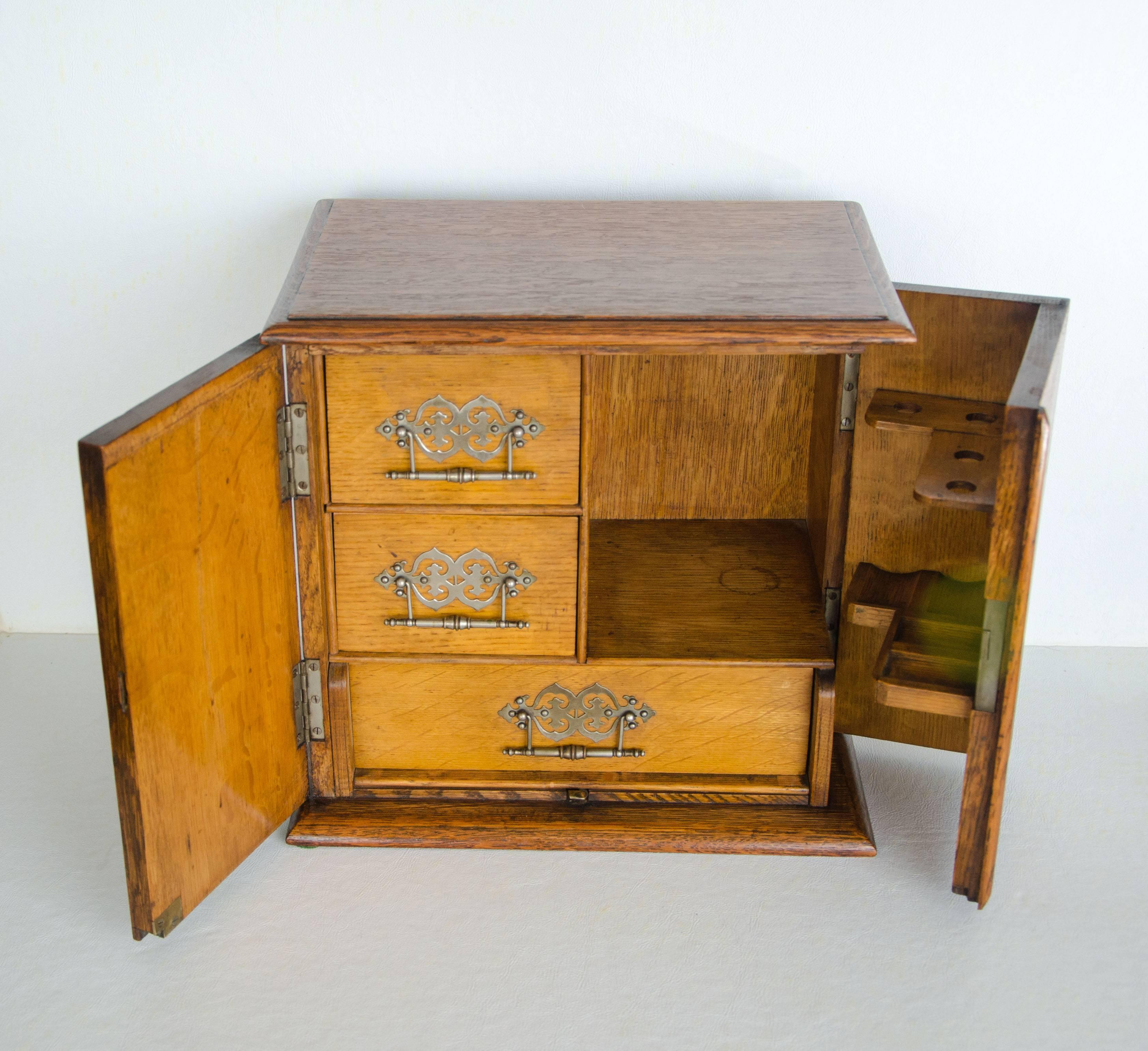 Superieur Antique Oak Pipe And Tobacco Cabinet For Sale At 1stdibs