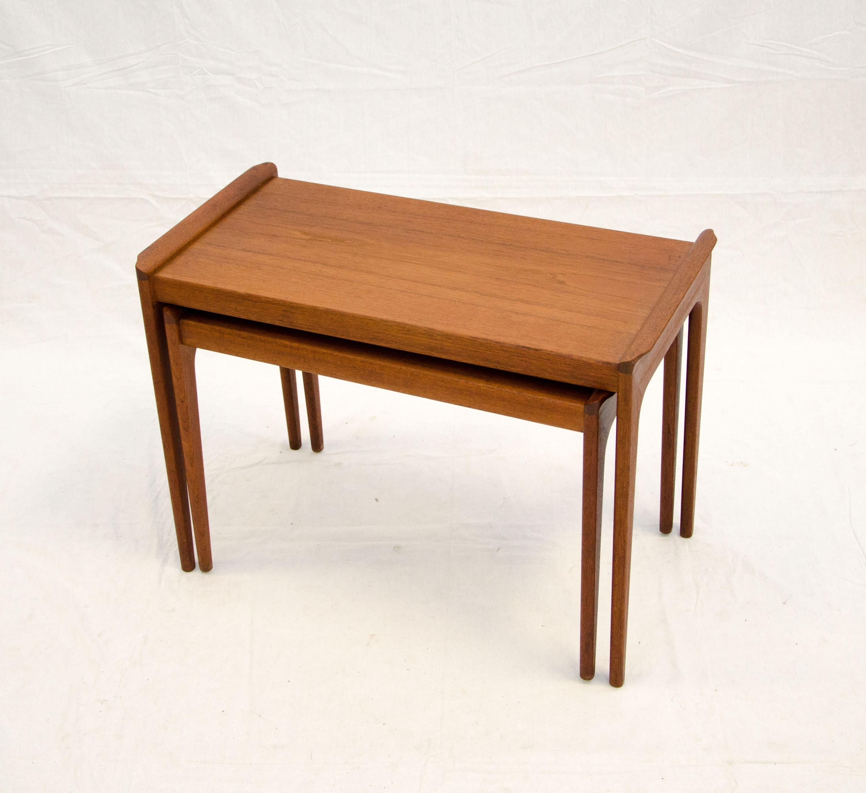 Pair Of Danish Teak Nesting Tables With Sculptural Upturned Edges On Each  End. The Lower