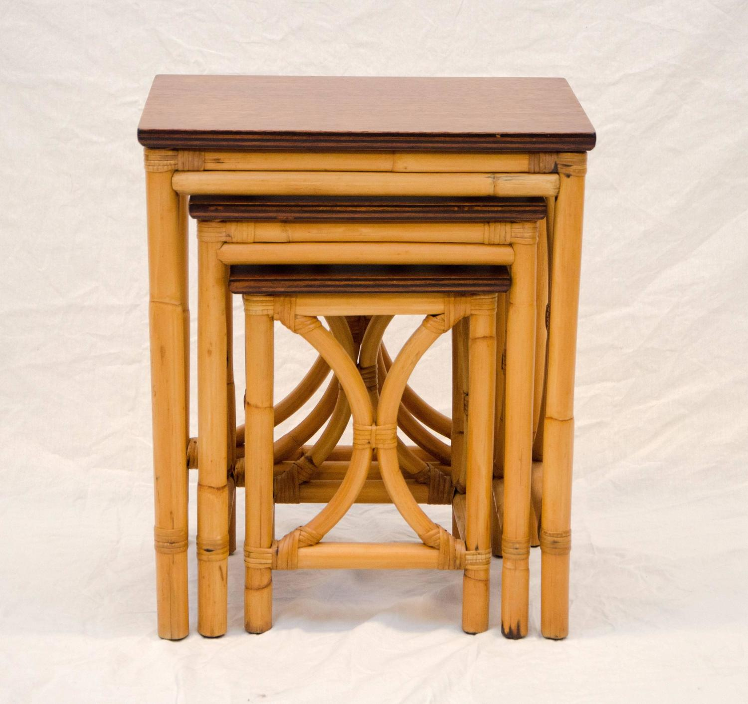 Rattan Nesting Tables ~ Rattan nesting tables set of three at stdibs