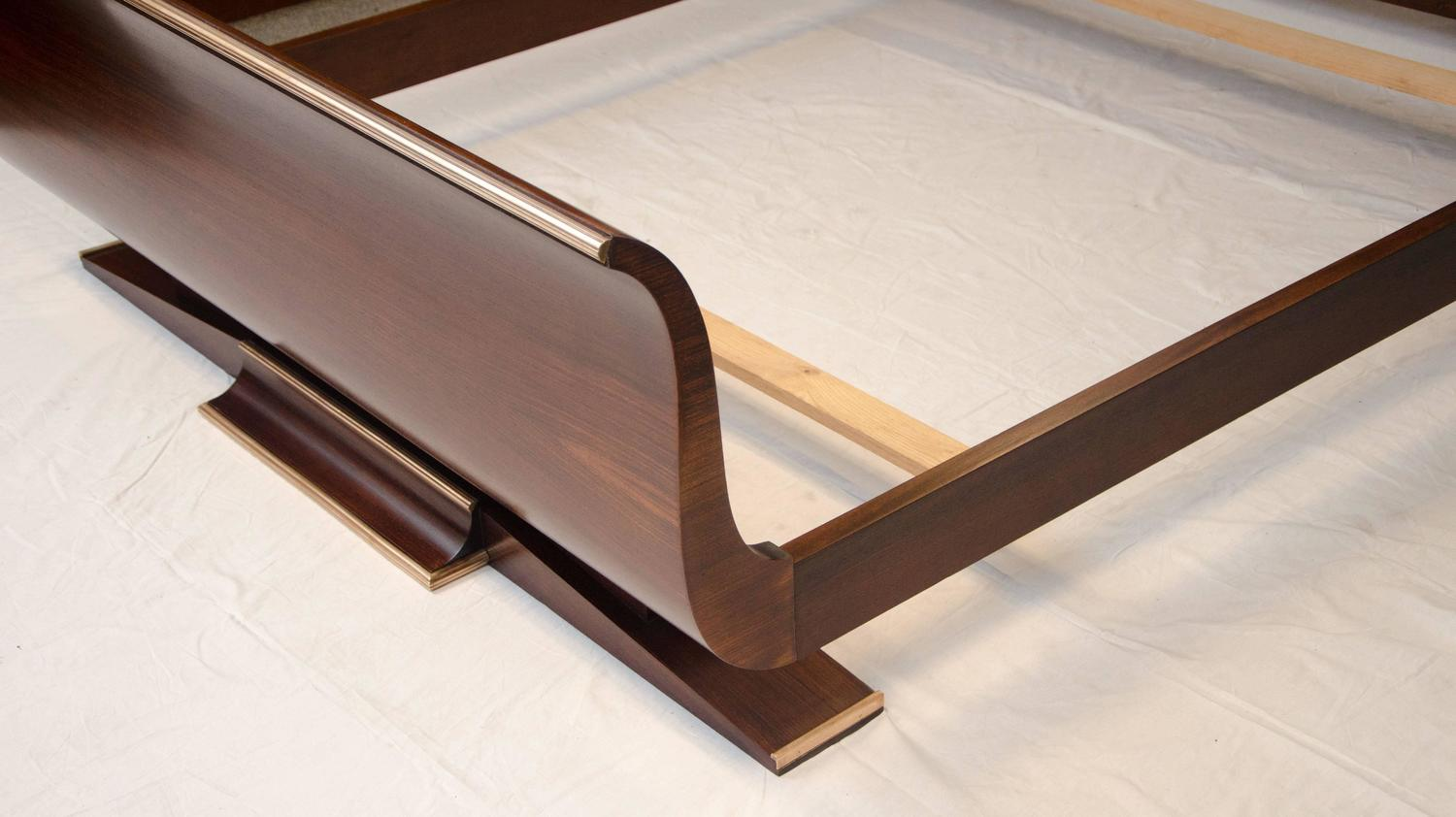 French art deco european queen size bed rosewood for sale for European beds for sale