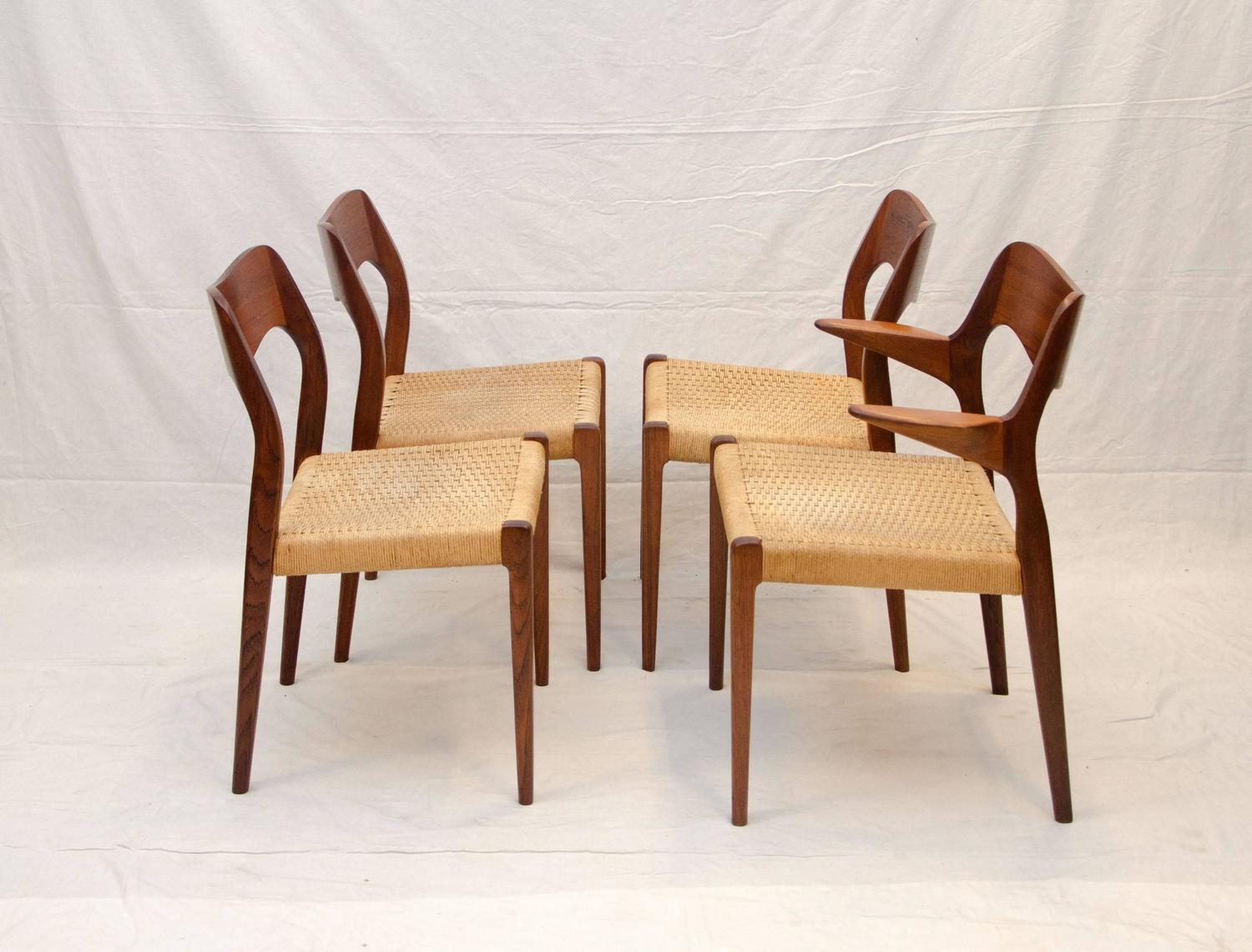 Set Of Four Danish Teak Dining Chairs Moller 71 And 55 For Sale At 1stdibs