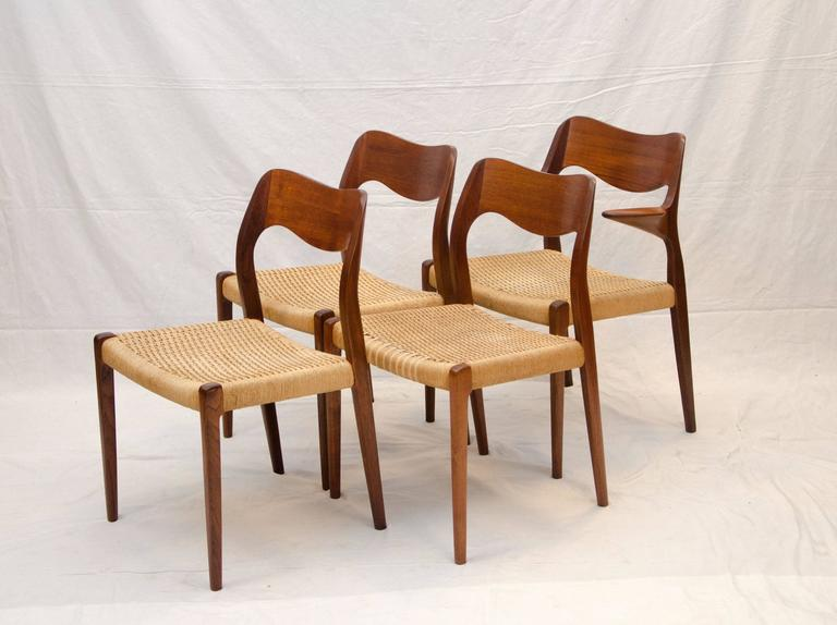 set of four danish teak dining chairs moller 71 and 55 for sale