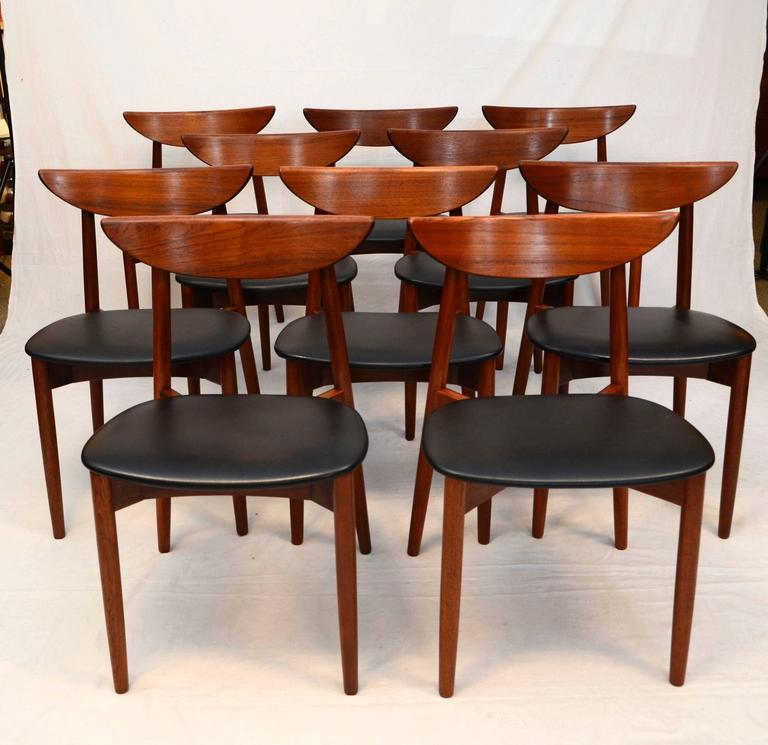 Set Of Ten Teak Dining Chairs, Harry Ostergaard For