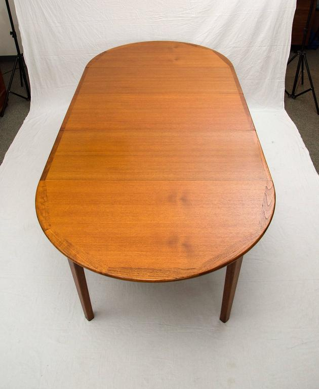 Large Danish Teak Round Dining Table Four Skirted Leaves