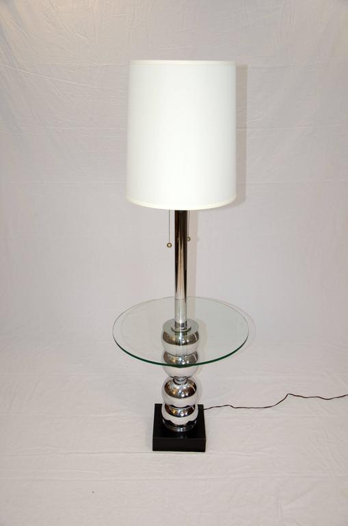 mid century floor lamp table chrome and glass for sale at 1stdibs. Black Bedroom Furniture Sets. Home Design Ideas