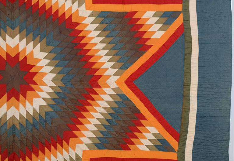 American Blazing Lone Star Quilt For Sale