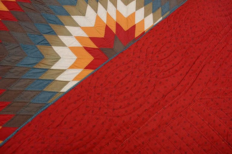 Blazing Lone Star Quilt In Good Condition For Sale In Darnestown, MD