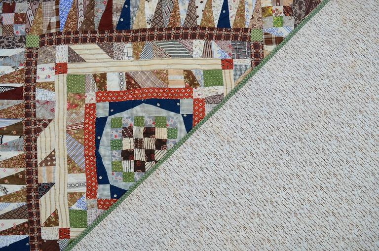 Late 19th Century Highly Pieced Center Medallion Quilt For Sale
