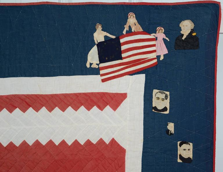 This fabulous 48 star Patriotic quilt has the embroidered title
