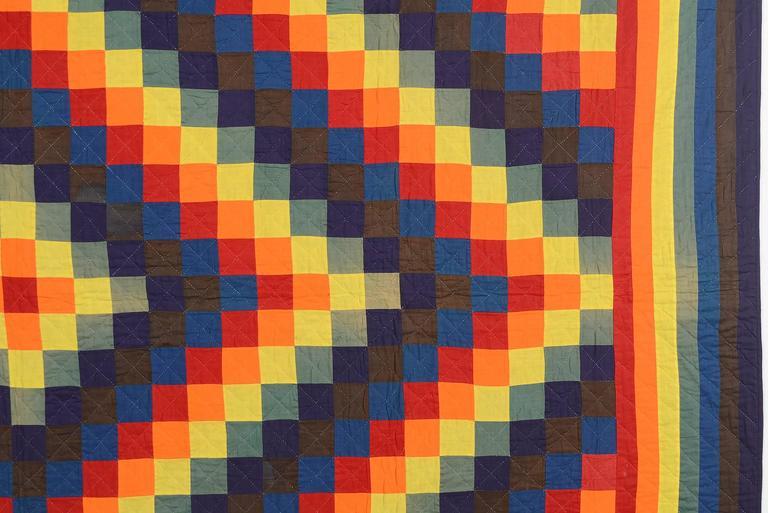 Patchwork Mennonite Trip Around the World Quilt For Sale