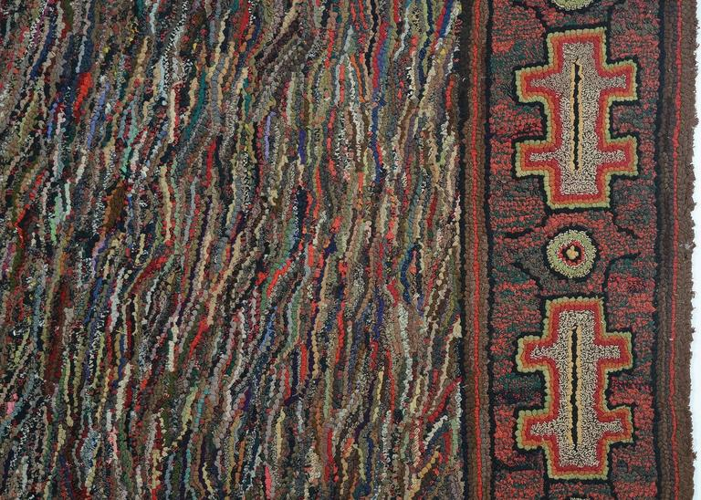 American Large Abstract Hooked Rug For Sale