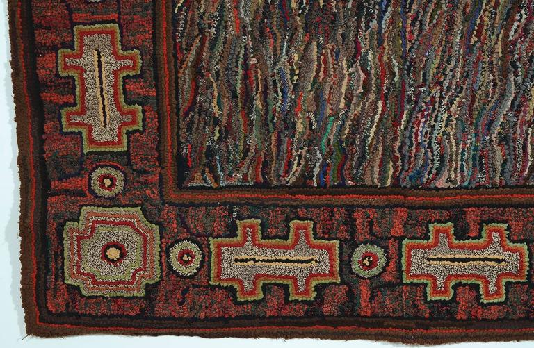 Hand-Crafted Large Abstract Hooked Rug For Sale