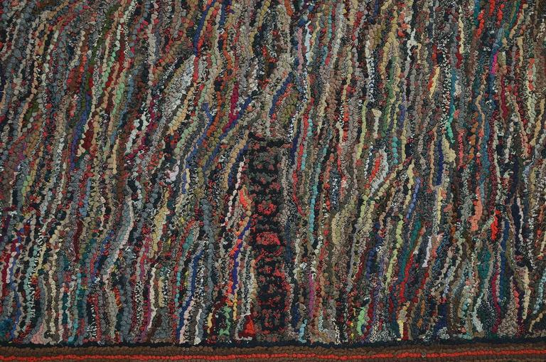 Mid-20th Century Large Abstract Hooked Rug For Sale