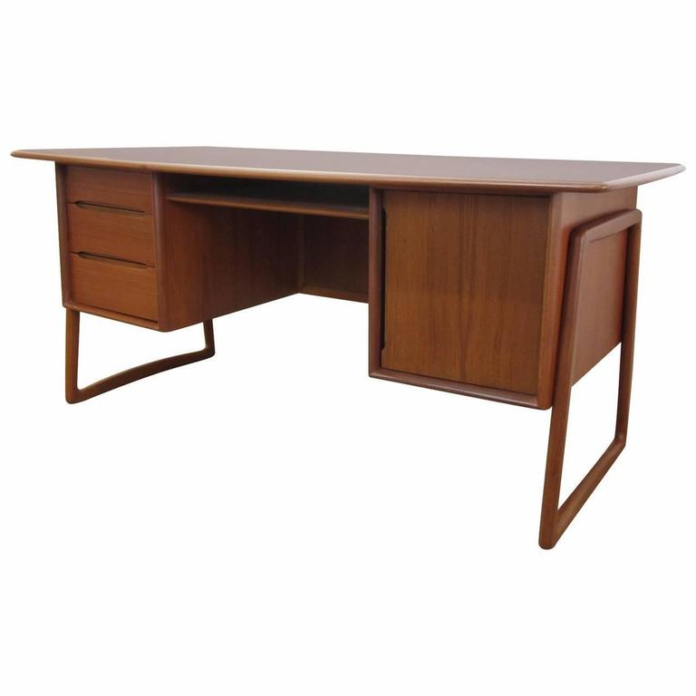 Mid Century Teak And Raffia Danish Desk At 1stdibs