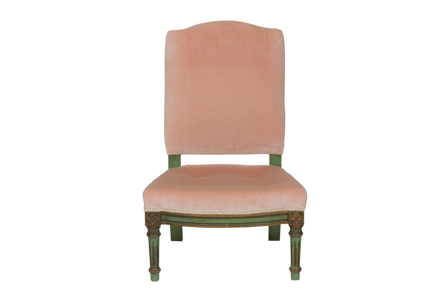 Pink Velvet And Painted Wood French Diminutive Slipper Chair Image 4. Full resolution  portrait, nominally Width 1500 Height 1000 pixels, portrait with #8A5641.