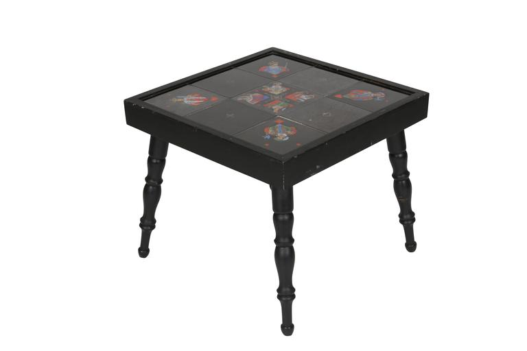 Painted Tile Playing Card Motif Side Table At 1stdibs