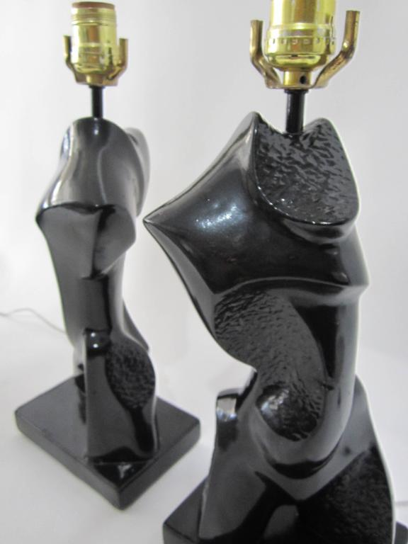 Pair of Heifetz Abstract Chalk-Plaster Lamps   For Sale 1
