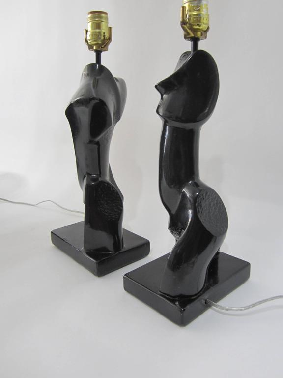 Pair of Heifetz Abstract Chalk-Plaster Lamps   For Sale 2