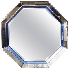 Octagonal Mirror with Blue and Antiqued Silver Frame