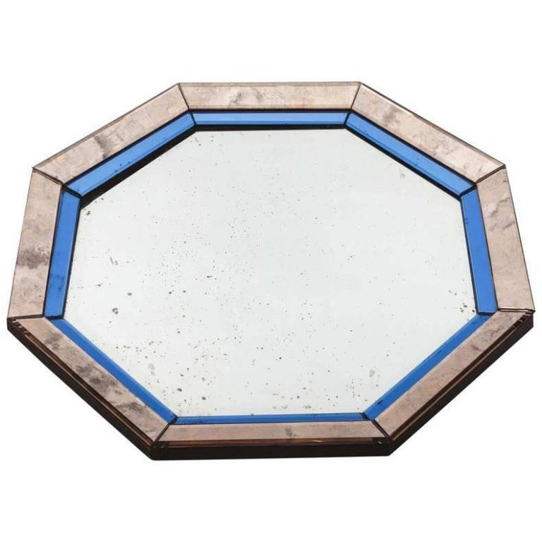 20th Century Octagonal Mirror with Blue and Antiqued Silver Frame For Sale