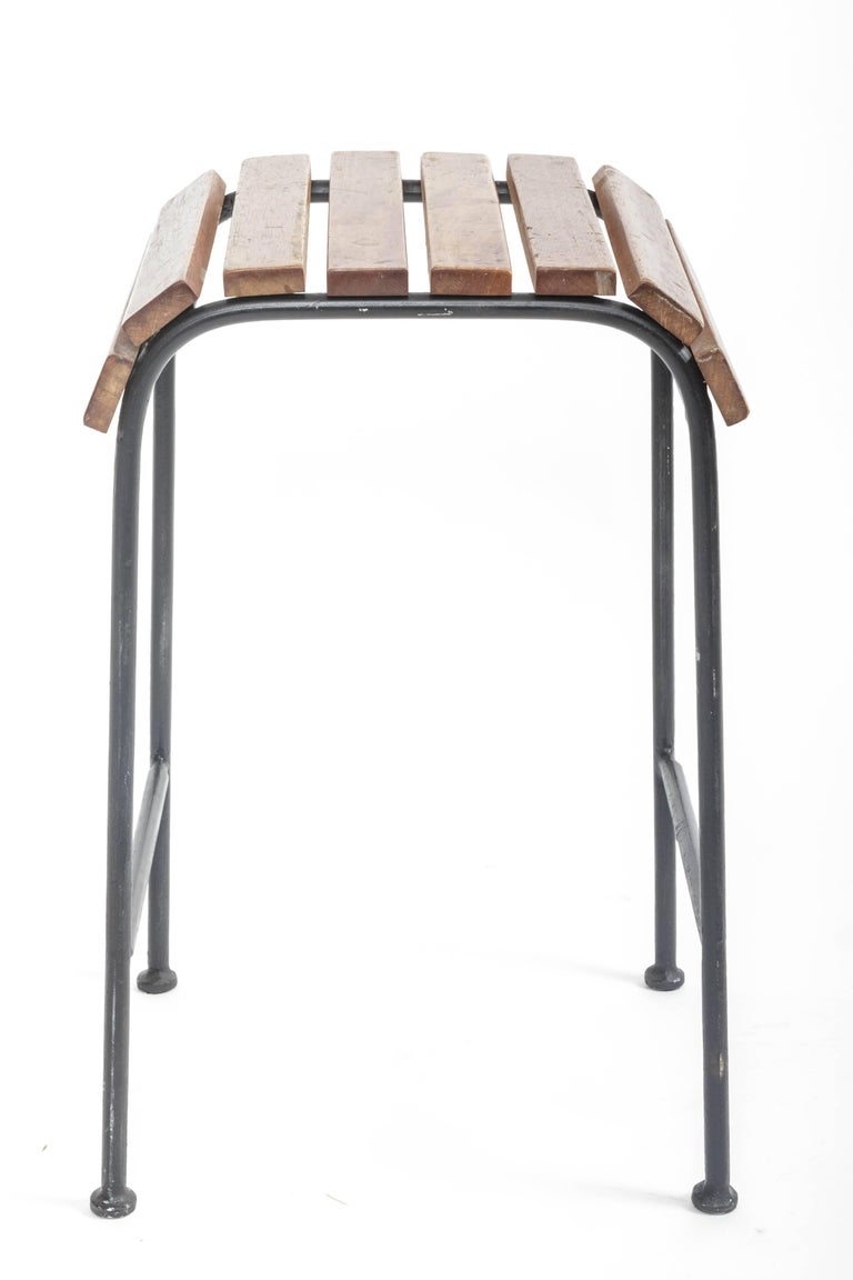 Slatted Wood and Metal Stool For Sale 3