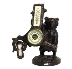 Beautiful Black Forrest Bear, Thermometer, Barometer and Hourglass