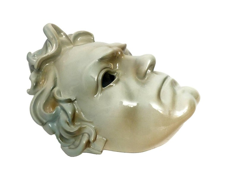 Italian Beautiful Ceramic Portrait of Ludwig Van Beethoven, Italy, circa 1910 For Sale