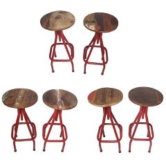 Industrial Stools with Red Painted Tubular Iron Legs and Wooden Seats