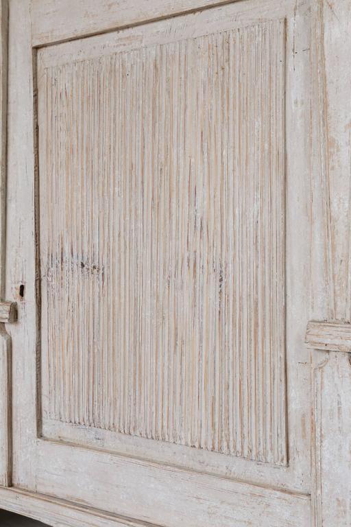 Pine 19th Century Swedish Painted Folk Art Cupboard For Sale