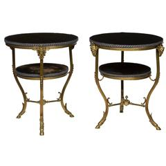 Pair of Italian Ormolu and Brass Two-Tiered Side Tables