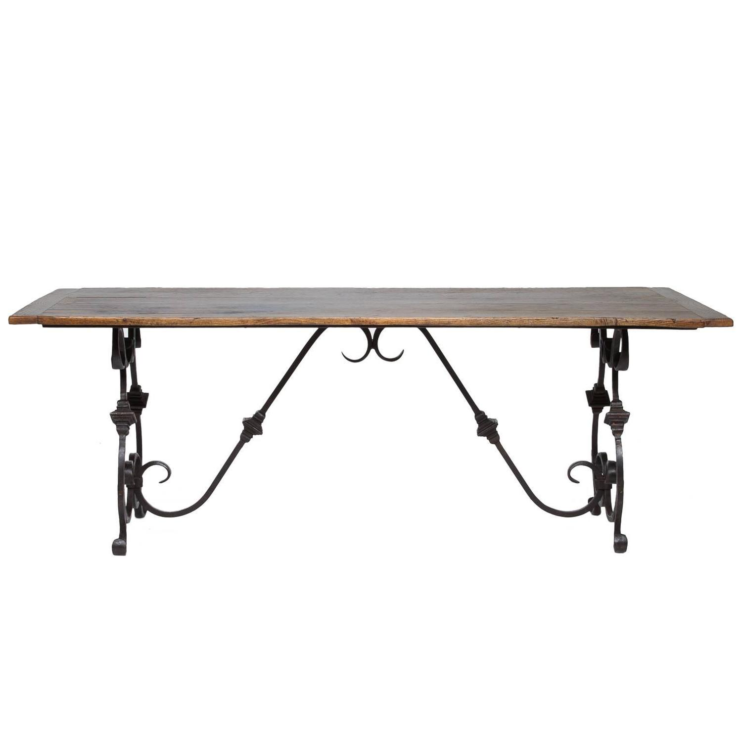 French Oak And Iron Dining Table