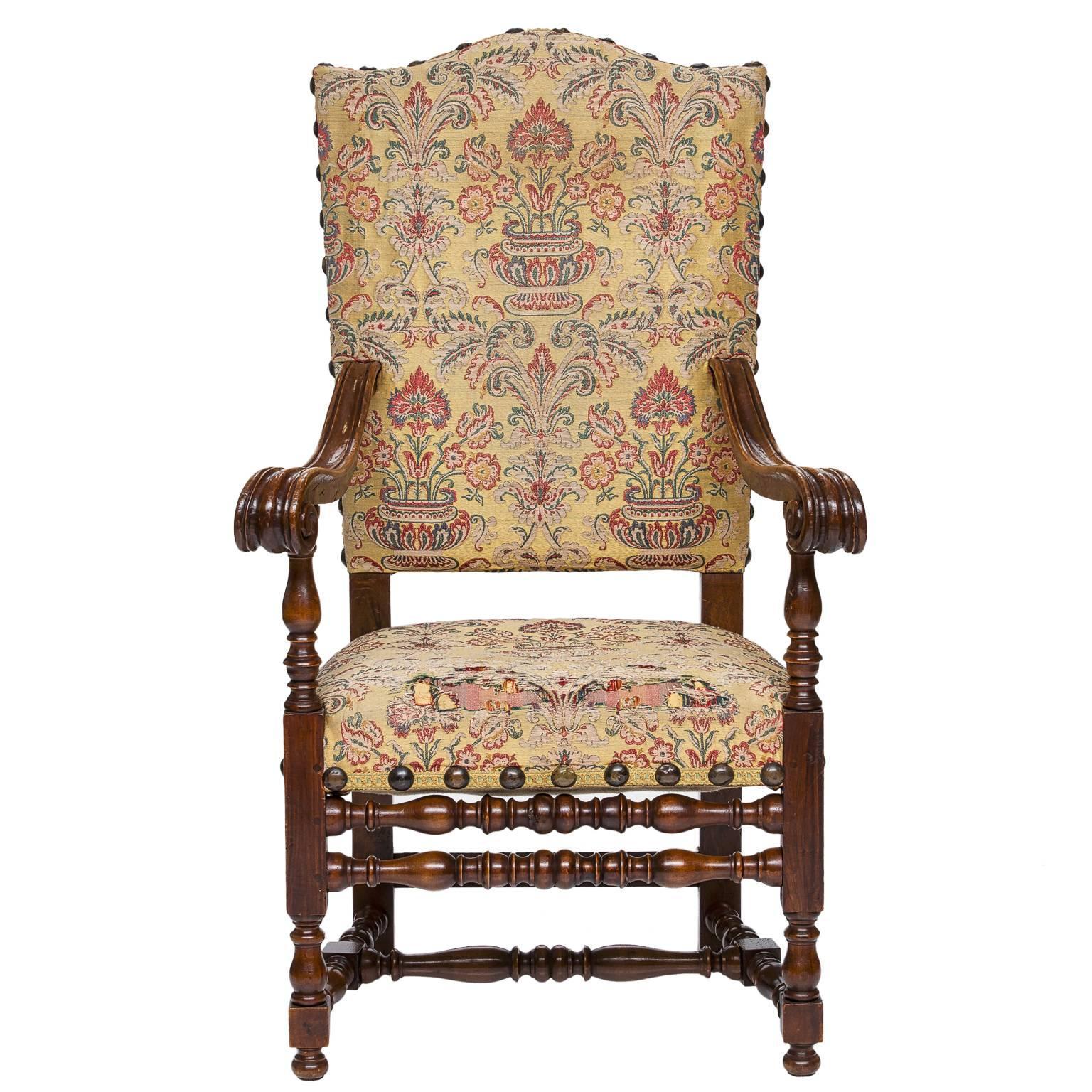 19th Century Italian Walnut Armchair
