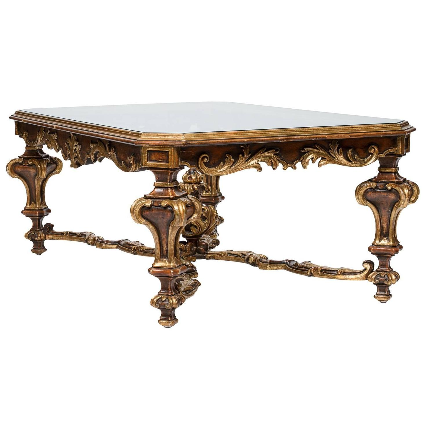 Venetian Polychrome Glass Top Coffee Table at 1stdibs