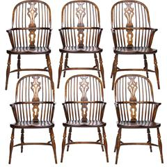 Six English Bench-Made Windsor Armchairs