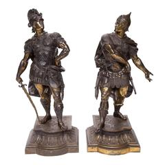 Pair of 19th Century Signed Warrior Figures in Spelter Metal