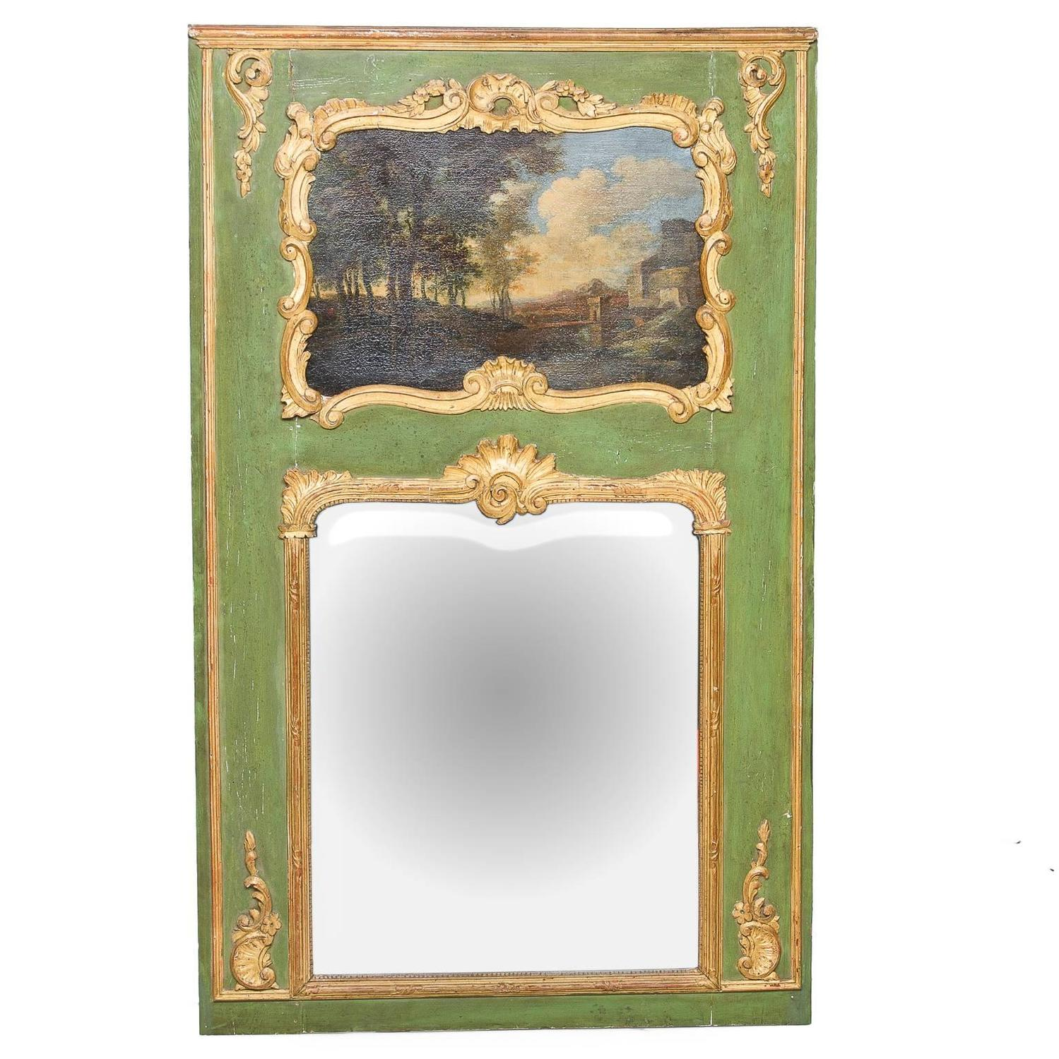 19th century french painted trumeau mirror for sale at 1stdibs. Black Bedroom Furniture Sets. Home Design Ideas