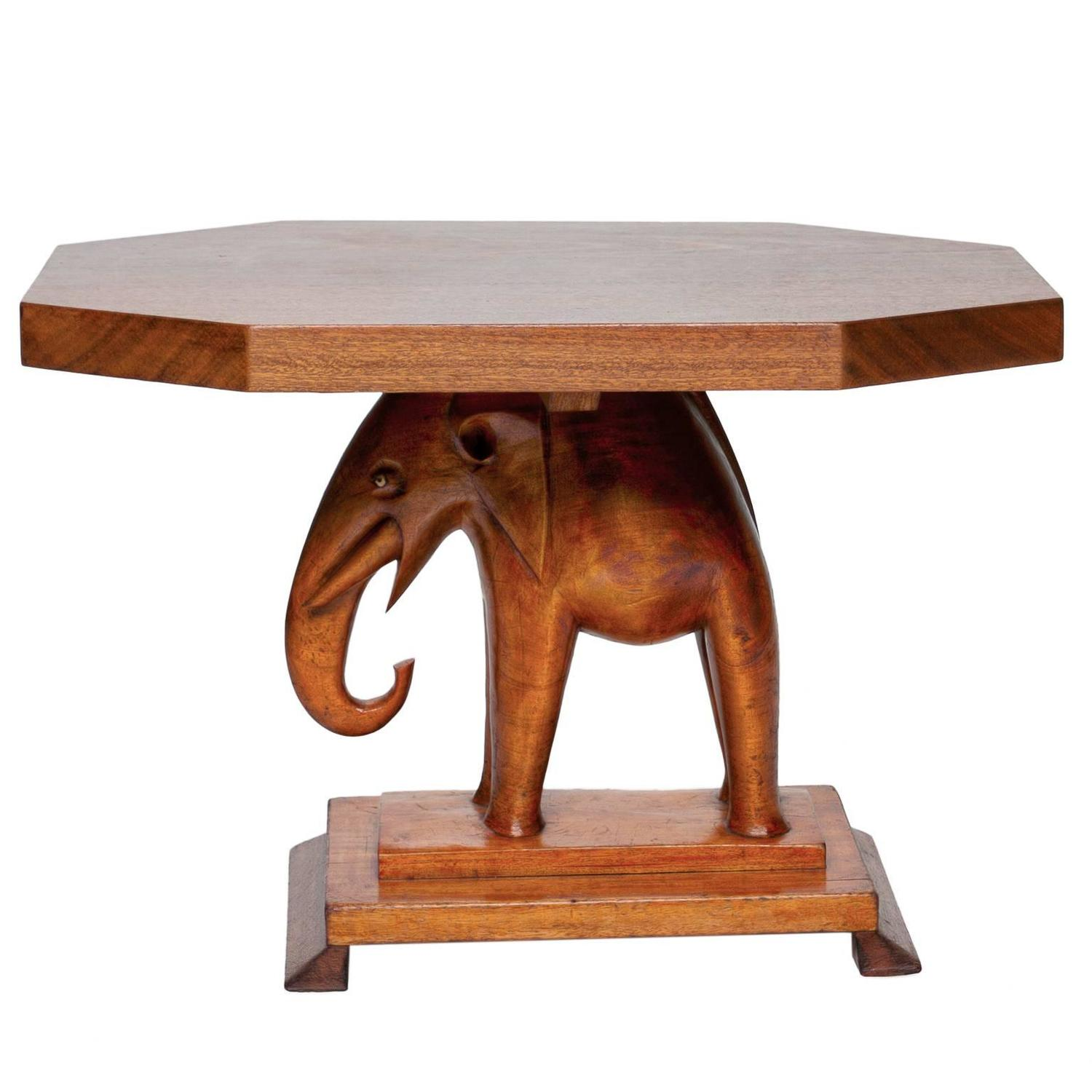 20th Century Ashanti Carved Table and Elephant Base at 1stdibs