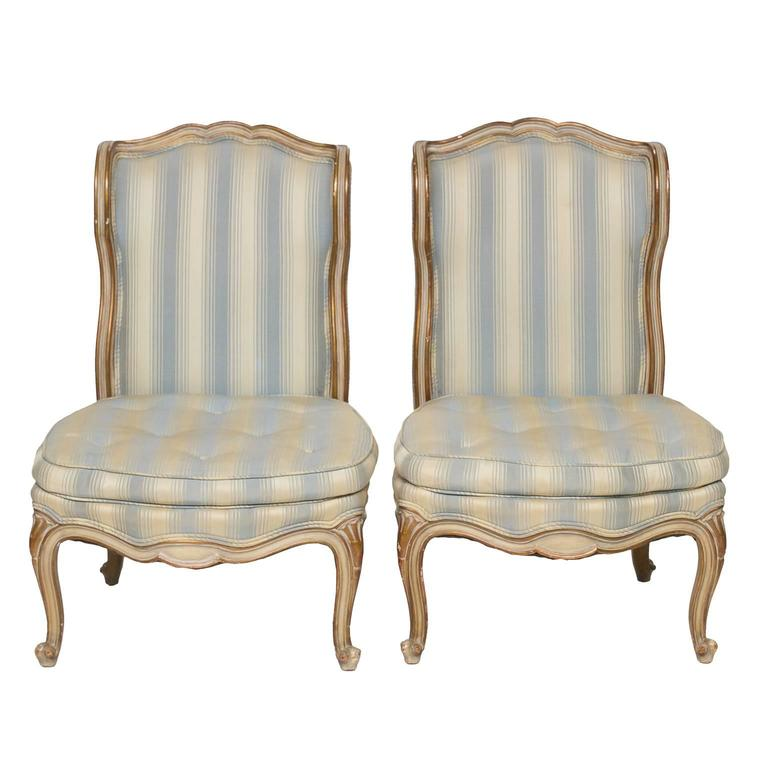 Louis XV Pair of Vintage Boudoir Slipper Chair For Sale - Pair Of Vintage Boudoir Slipper Chair For Sale At 1stdibs