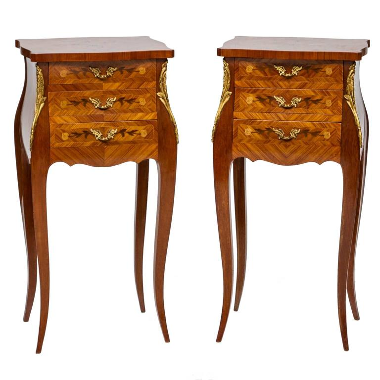 Louis xv pair of inlaid chiffonni re 39 s at 1stdibs - Table de chevet louis xv ...