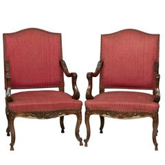 19th Century Pair of Louis XV Walnut Fauteuil's